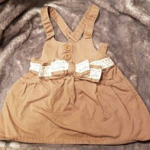 Tan, toddler denim adjustable overall skirt!